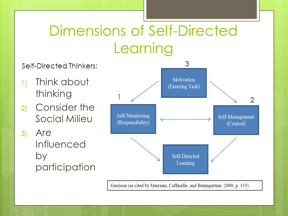 Dimensions of Self-Directed Learning 1) Think about thinking 2) Consider the Social Milieu 3) Are Influenced by participation 1 2 3 Self-Directed Thin