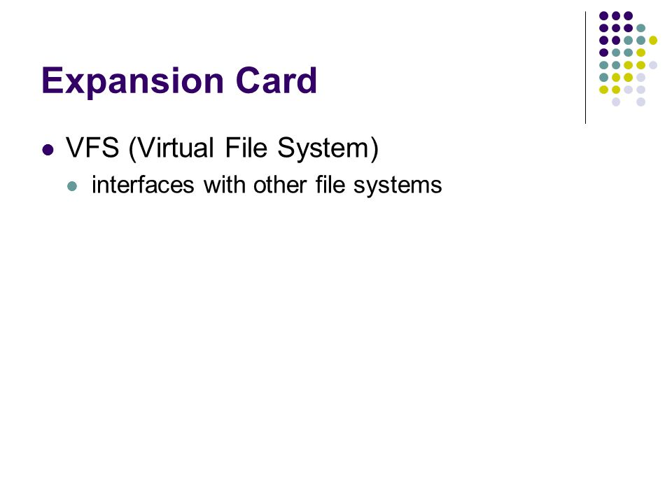Expansion Card VFS (Virtual File System) interfaces with other file systems