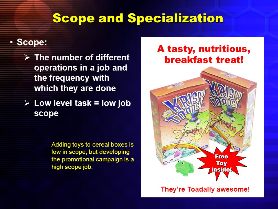 Forms of Human-Resource Specialization Specialization by task  Used when jobs are so specialized that a worker does one small part of the total job  Also known as division of labor