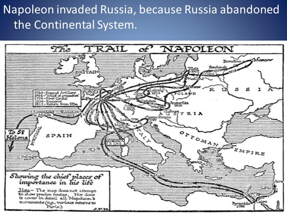 Napoleon invaded Russia, because Russia abandoned the Continental System.