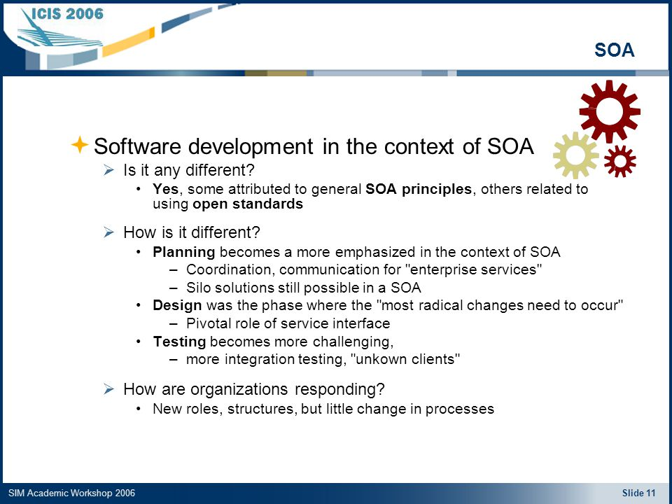 SIM Academic Workshop 2006 Slide 11 SOA  Software development in the context of SOA  Is it any different.