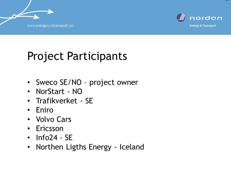 Project Participants Sweco SE/NO – project owner NorStart - NO Trafikverket - SE Eniro Volvo Cars Ericsson Info24 - SE Northen Ligths Energy - Iceland