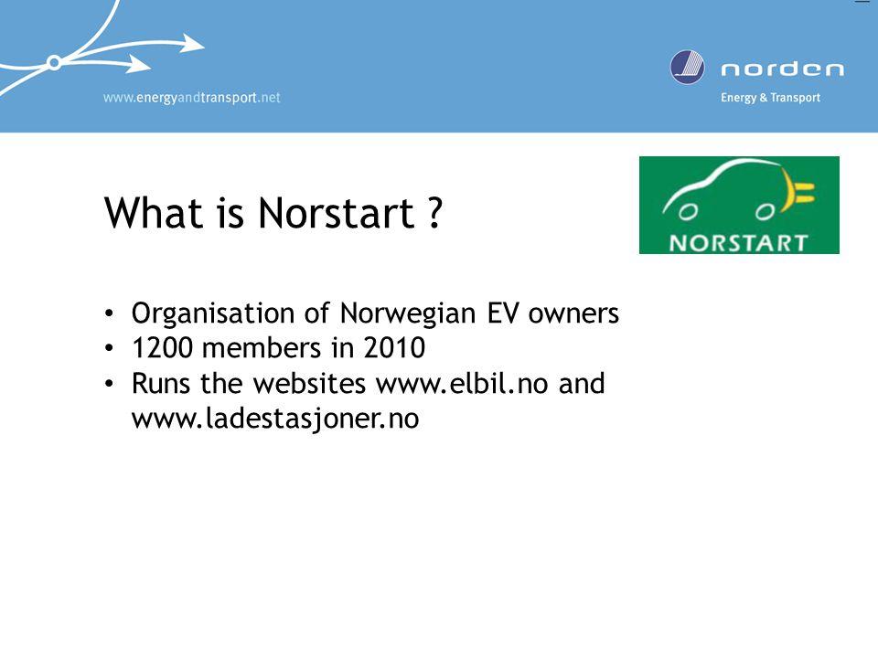 What is Norstart ? Organisation of Norwegian EV owners 1200 members in 2010 Runs the websites www.elbil.no and www.ladestasjoner.no