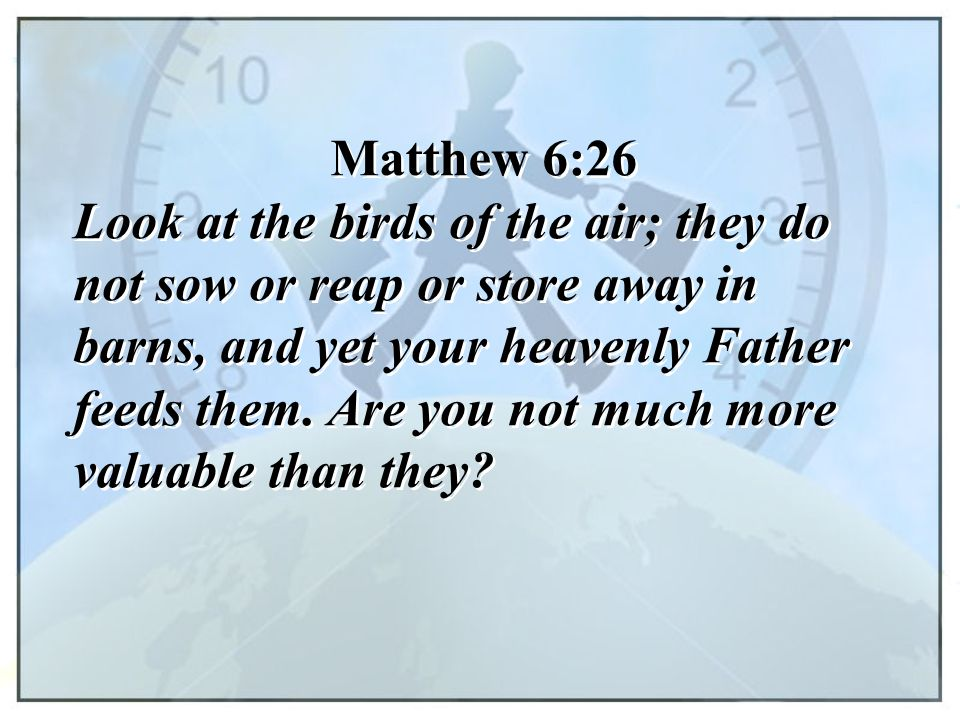 Matthew 6:26 Look at the birds of the air; they do not sow or reap or store away in barns, and yet your heavenly Father feeds them. Are you not much m