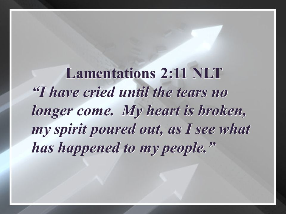 Lamentations 2:11 NLT I have cried until the tears no longer come.
