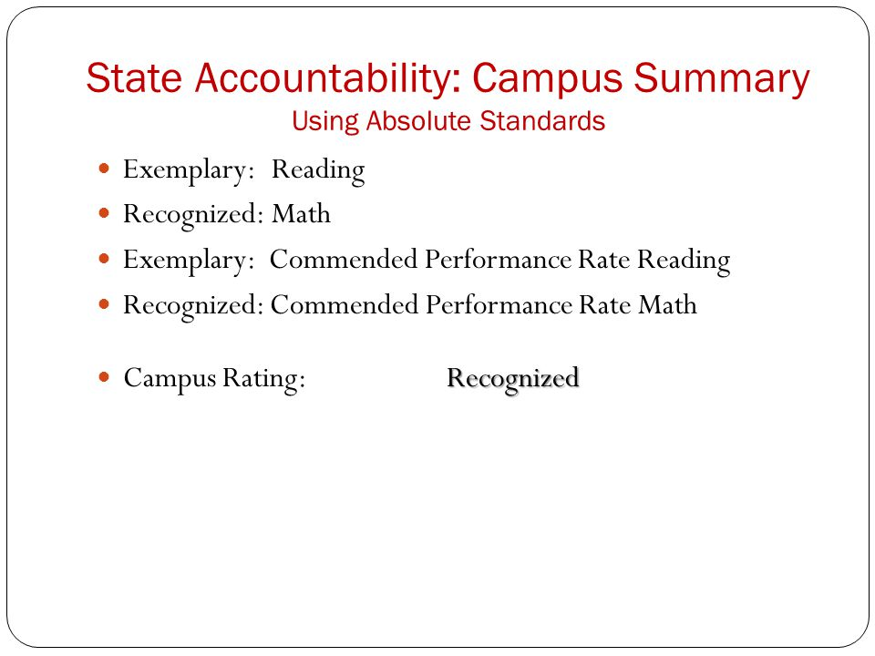 State Accountability: Campus Summary Using Absolute Standards Exemplary:Reading Recognized:Math Exemplary: Commended Performance Rate Reading Recognized: Commended Performance Rate Math Recognized Campus Rating:Recognized