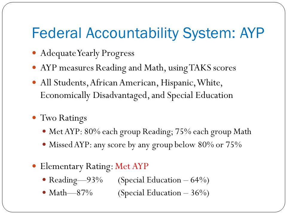 Federal Accountability System: AYP Adequate Yearly Progress AYP measures Reading and Math, using TAKS scores All Students, African American, Hispanic, White, Economically Disadvantaged, and Special Education Two Ratings Met AYP: 80% each group Reading; 75% each group Math Missed AYP: any score by any group below 80% or 75% Elementary Rating: Met AYP Reading—93%(Special Education – 64%) Math—87%(Special Education – 36%)