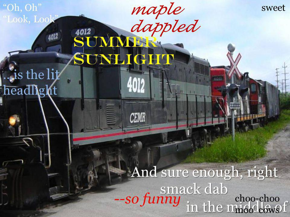 """And sure enough, right in the middle of smack dab sweet maple dappled summer sunlight …is the headlight lit --so funny """"Oh, Oh"""" """"Look, Look"""" choo-choo"""