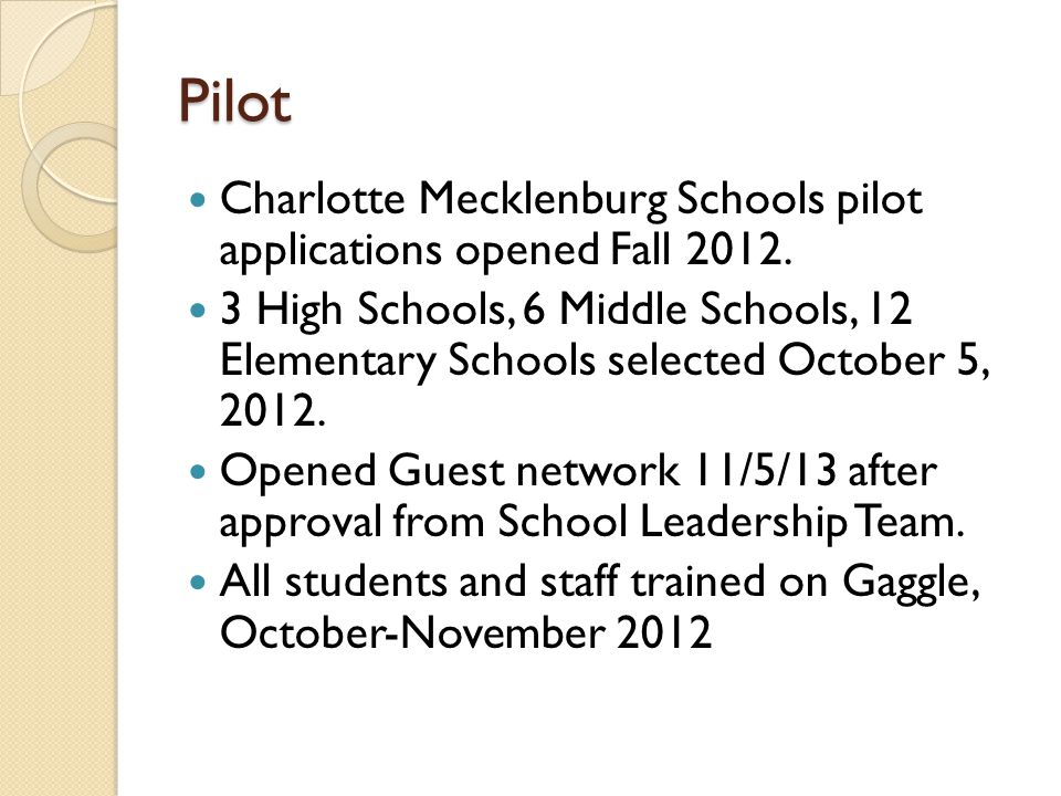 Pilot Charlotte Mecklenburg Schools pilot applications opened Fall 2012.