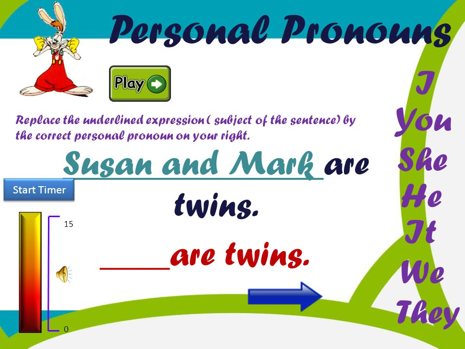 Personal Pronouns He You I She It We They Replace the underlined expression ( subject of the sentence) by the correct personal pronoun on your right.