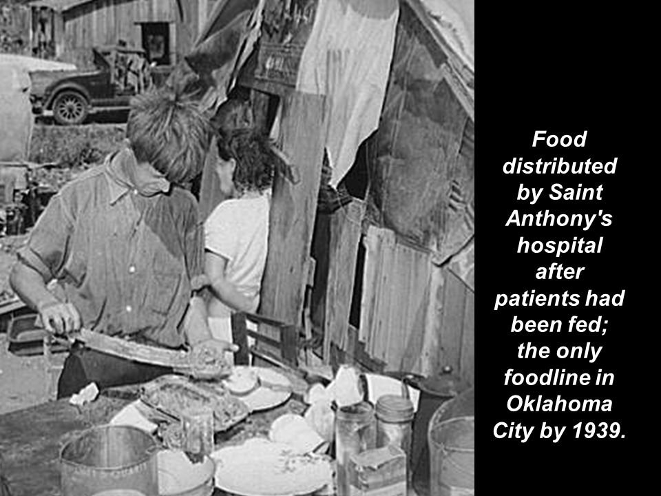 Food distributed by Saint Anthony's hospital after patients had been fed; the only foodline in Oklahoma City by 1939.