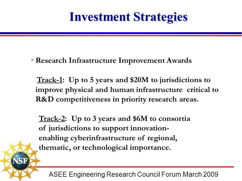 ASEE Engineering Research Council Forum March 2009  Research Infrastructure Improvement Awards Track-1: Up to 5 years and $20M to jurisdictions to im