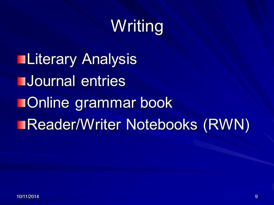 10/11/20149 Writing Literary Analysis Journal entries Online grammar book Reader/Writer Notebooks (RWN)