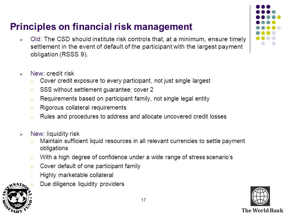The World Bank Principles on financial risk management  Old: The CSD should institute risk controls that, at a minimum, ensure timely settlement in t