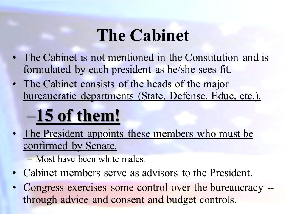 The Cabinet The Cabinet is not mentioned in the Constitution and is formulated by each president as he/she sees fit. The Cabinet consists of the heads