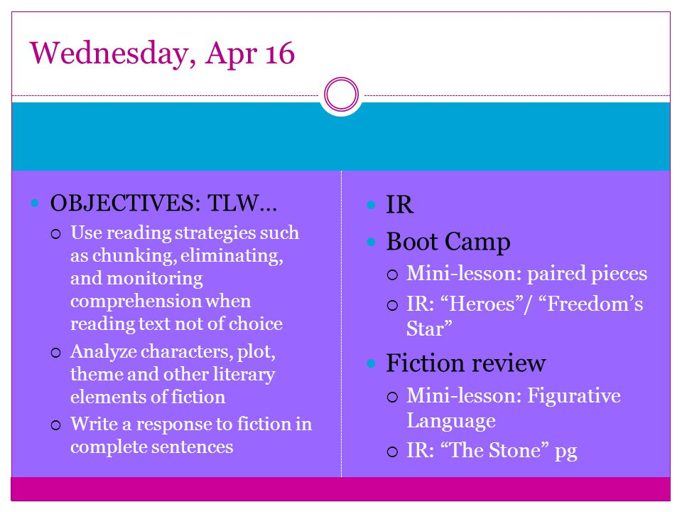 OBJECTIVES: TLW…  Use reading strategies such as chunking, eliminating, and monitoring comprehension when reading text not of choice  Analyze characters, plot, theme and other literary elements of fiction  Write a response to fiction in complete sentences IR Boot Camp  Mini-lesson: paired pieces  IR: Heroes / Freedom's Star Fiction review  Mini-lesson: Figurative Language  IR: The Stone pg Wednesday, Apr 16