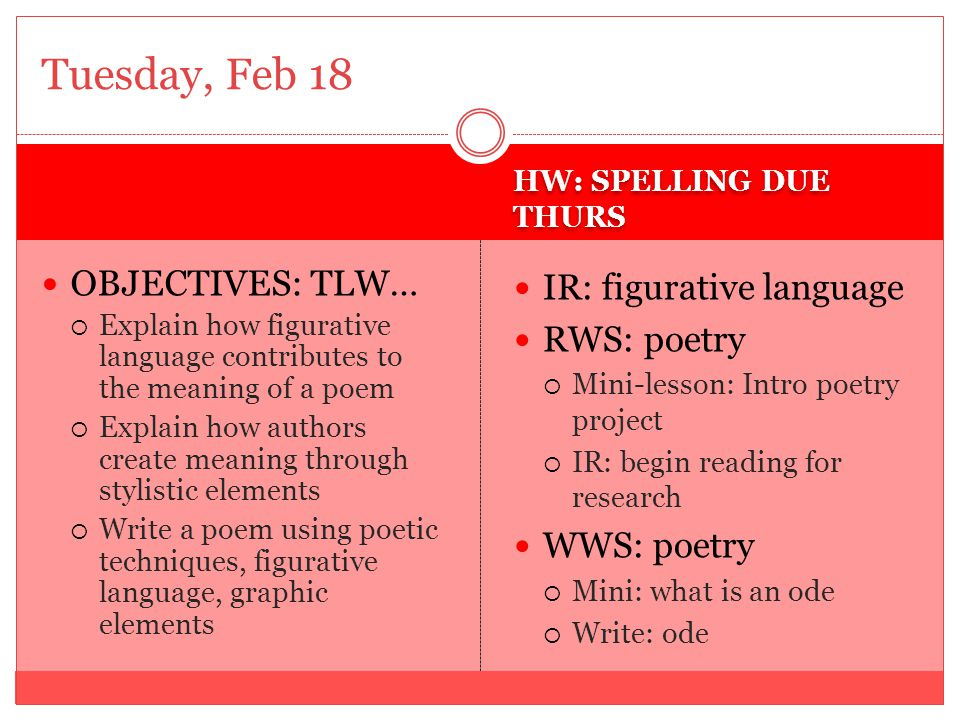 HW: SPELLING DUE THURS OBJECTIVES: TLW…  Explain how figurative language contributes to the meaning of a poem  Explain how authors create meaning through stylistic elements  Write a poem using poetic techniques, figurative language, graphic elements IR: figurative language RWS: poetry  Mini-lesson: poetry quiz  IR: continue reading poems for terms WWS: poetry  Mini: what is a limerick  Write: limerick Wednesday, Feb 19