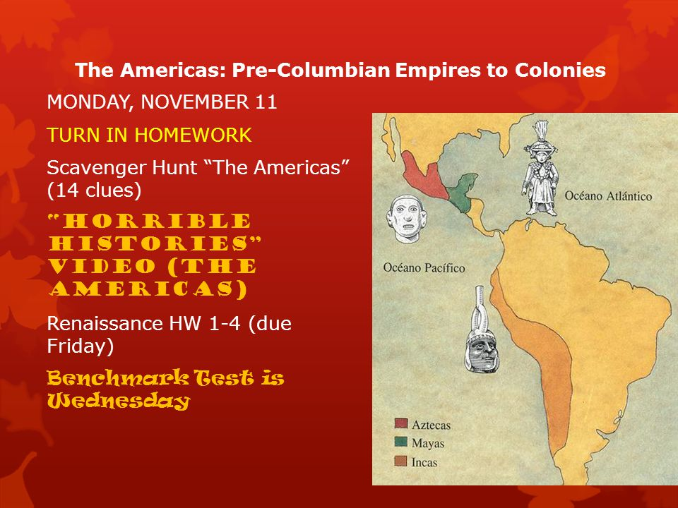 The Americas: Pre-Columbian Empires to Colonies  This Power Point presentation goes with the Mastering the TEKS in World History book by Jarrett, Zimmer, and Killoran.