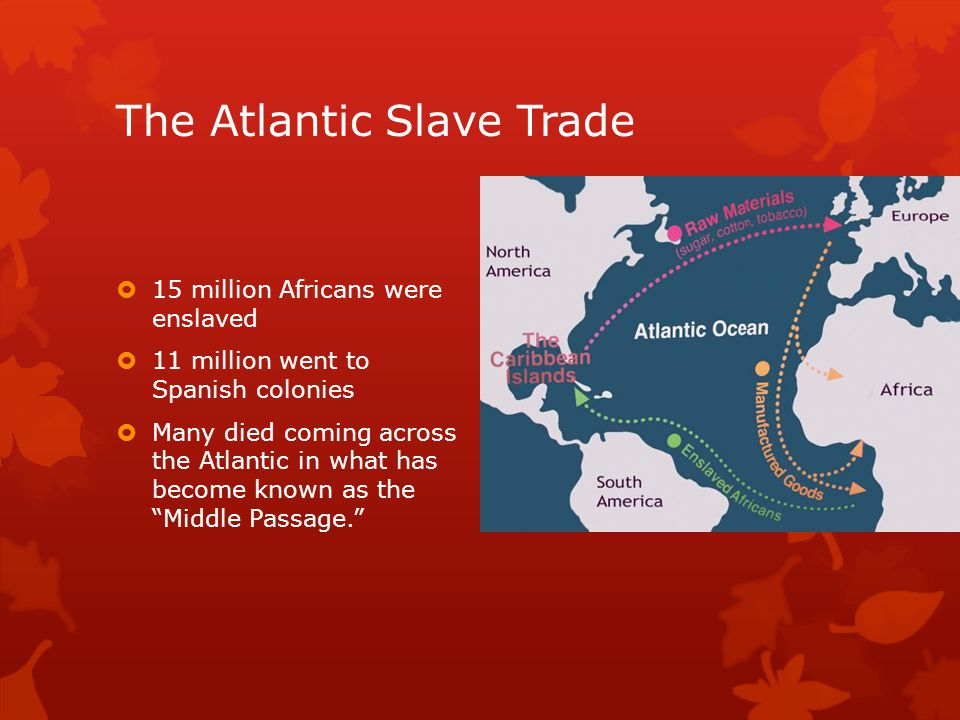The Atlantic Slave Trade  15 million Africans were enslaved  11 million went to Spanish colonies  Many died coming across the Atlantic in what has