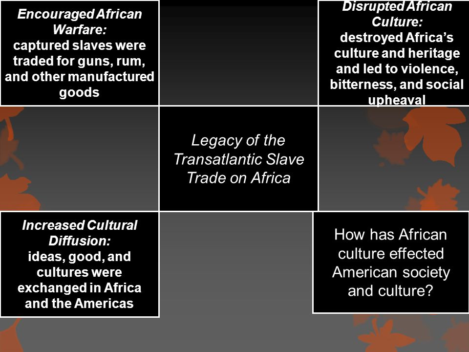 Legacy of the Transatlantic Slave Trade on Africa Encouraged African Warfare: captured slaves were traded for guns, rum, and other manufactured goods