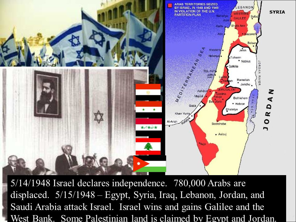 11/22/1967 - UN Security Council Resolution 242 Can not keep land won in the war and must withdraw end state of war and have lasting peace in region Israel, Egypt, Syria, and Jordan must recognize each other and have defensive boundaries.