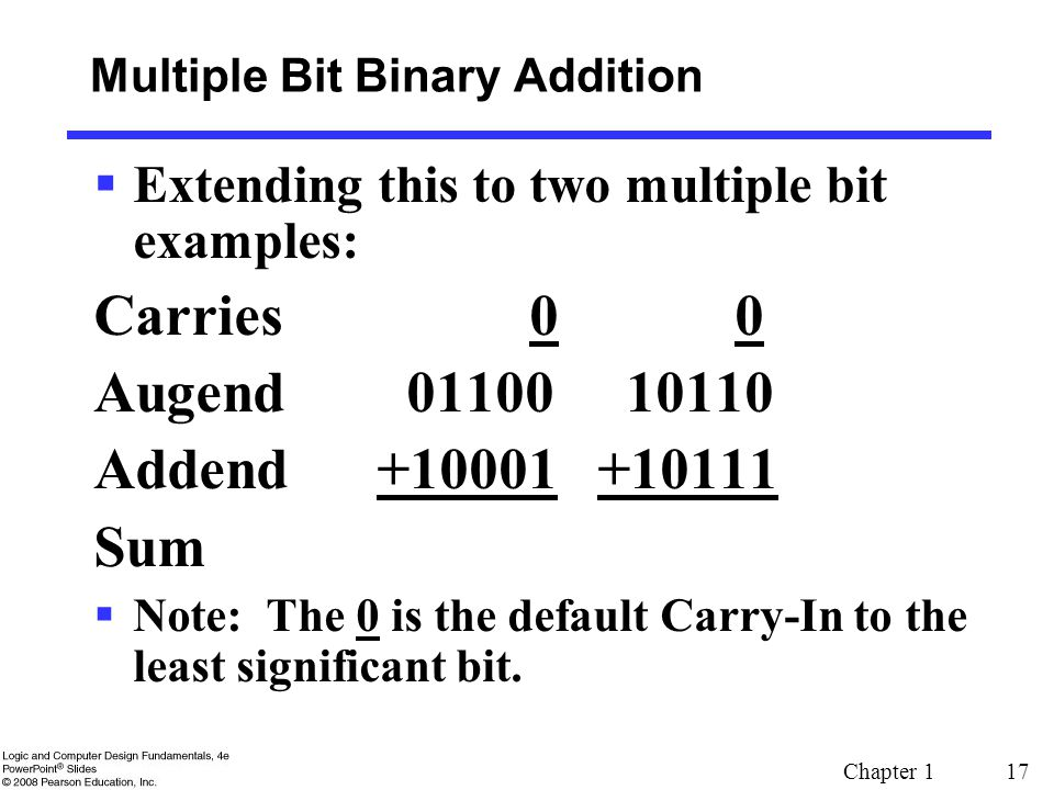 Chapter 1 17  Extending this to two multiple bit examples: Carries 0 0 Augend 01100 10110 Addend +10001 +10111 Sum  Note: The 0 is the default Carry