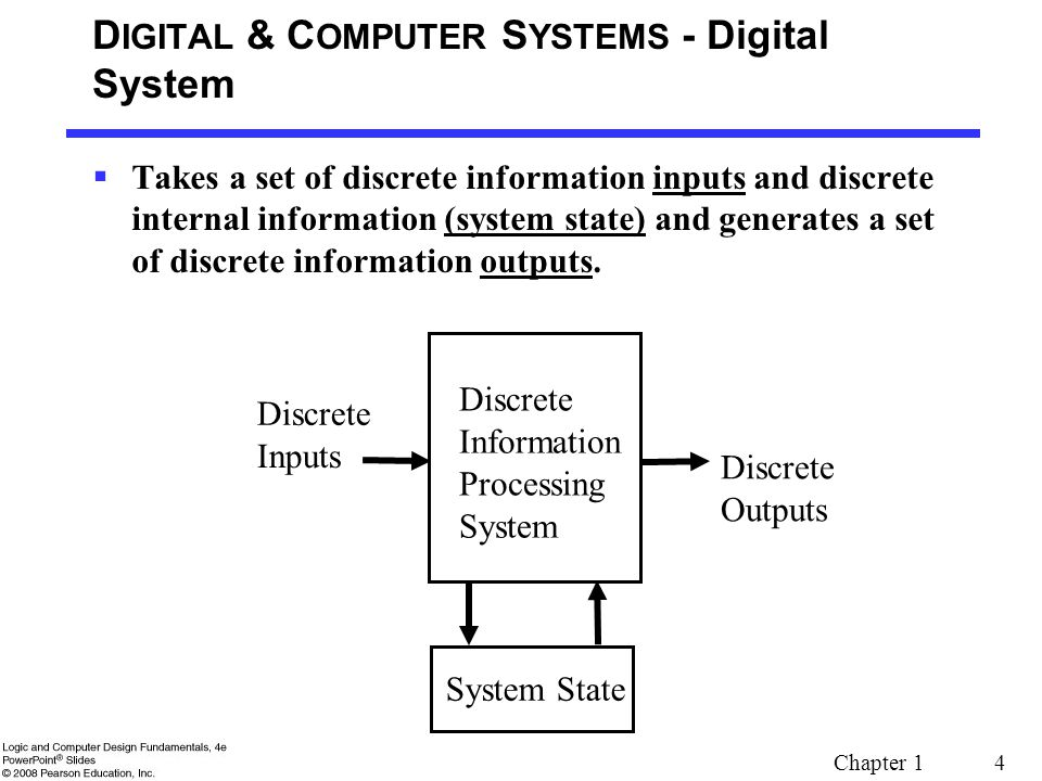 Chapter 1 4 D IGITAL & C OMPUTER S YSTEMS - Digital System  Takes a set of discrete information inputs and discrete internal information (system stat