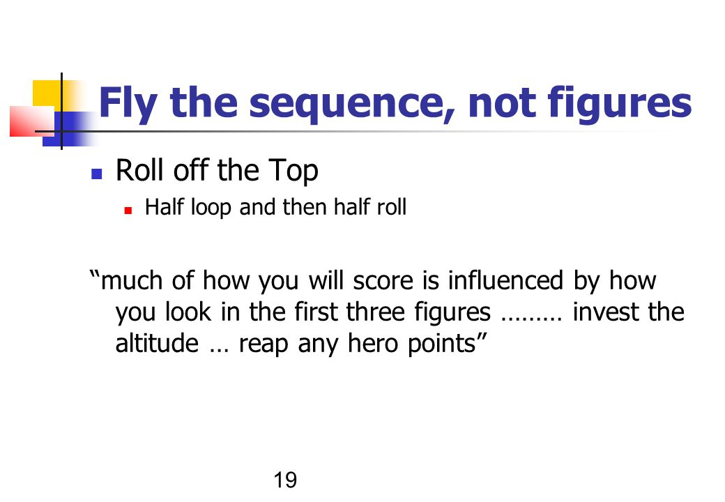 19 Fly the sequence, not figures Roll off the Top Half loop and then half roll much of how you will score is influenced by how you look in the first three figures ……… invest the altitude … reap any hero points