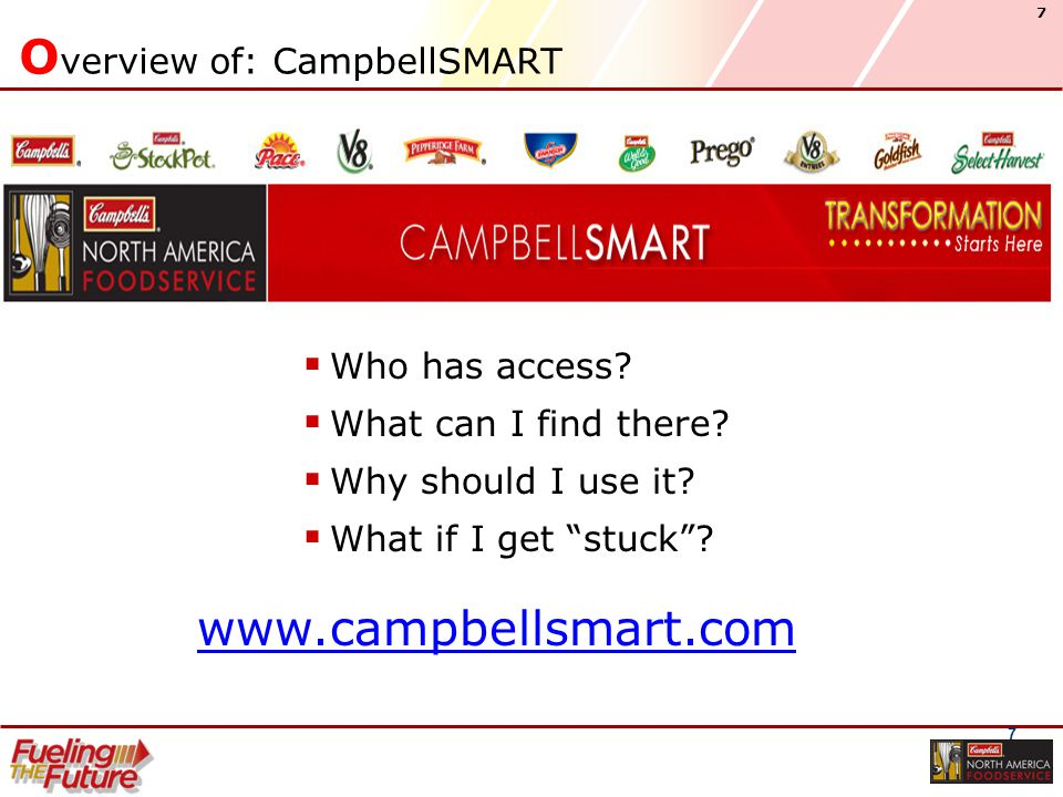 7 7 O verview of: CampbellSMART  Who has access. What can I find there.