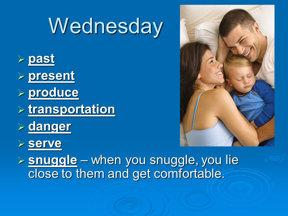 Wednesday  past  present  produce  transportation  danger  serve  snuggle – when you snuggle, you lie close to them and get comfortable.