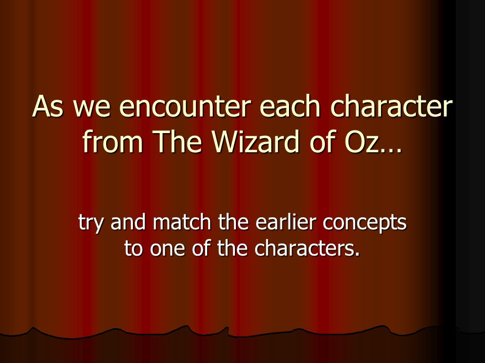 As we encounter each character from The Wizard of Oz… try and match the earlier concepts to one of the characters.