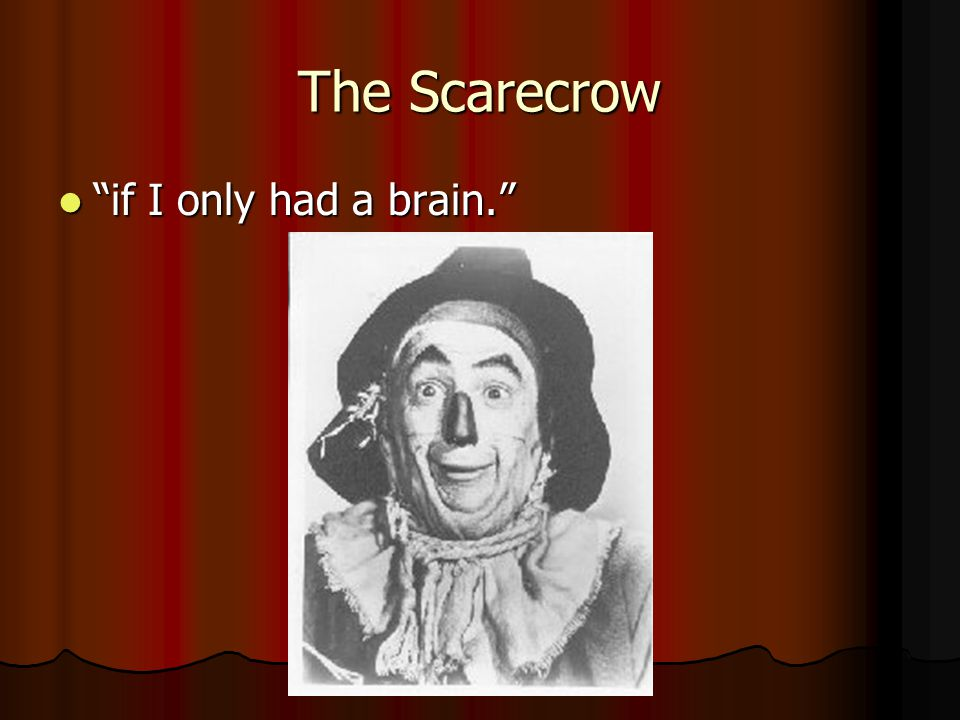 The Scarecrow if I only had a brain. if I only had a brain.