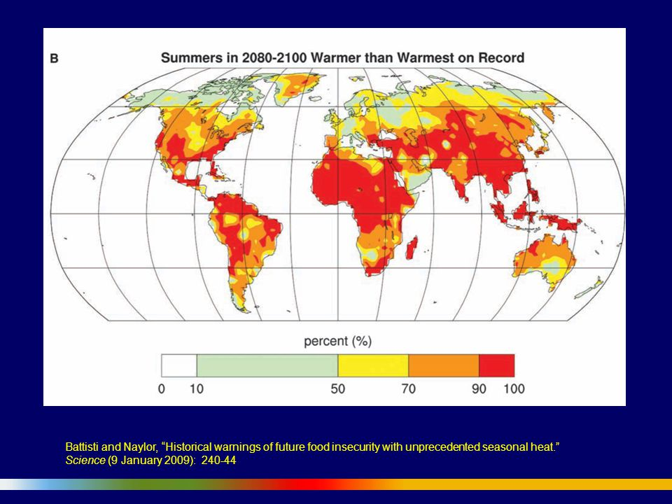 Battisti and Naylor, Historical warnings of future food insecurity with unprecedented seasonal heat. Science (9 January 2009): 240-44