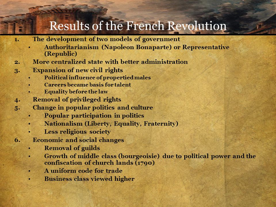 Results of the French Revolution 1.The development of two models of government Authoritarianism (Napoleon Bonaparte) or Representative (Republic) 2.More centralized state with better administration 3.Expansion of new civil rights Political influence of propertied males Careers became basis for talent Equality before the law 4.Removal of privileged rights 5.Change in popular politics and culture Popular participation in politics Nationalism (Liberty, Equality, Fraternity) Less religious society 6.Economic and social changes Removal of guilds Growth of middle class (bourgeoisie) due to political power and the confiscation of church lands (1790) A uniform code for trade Business class viewed higher