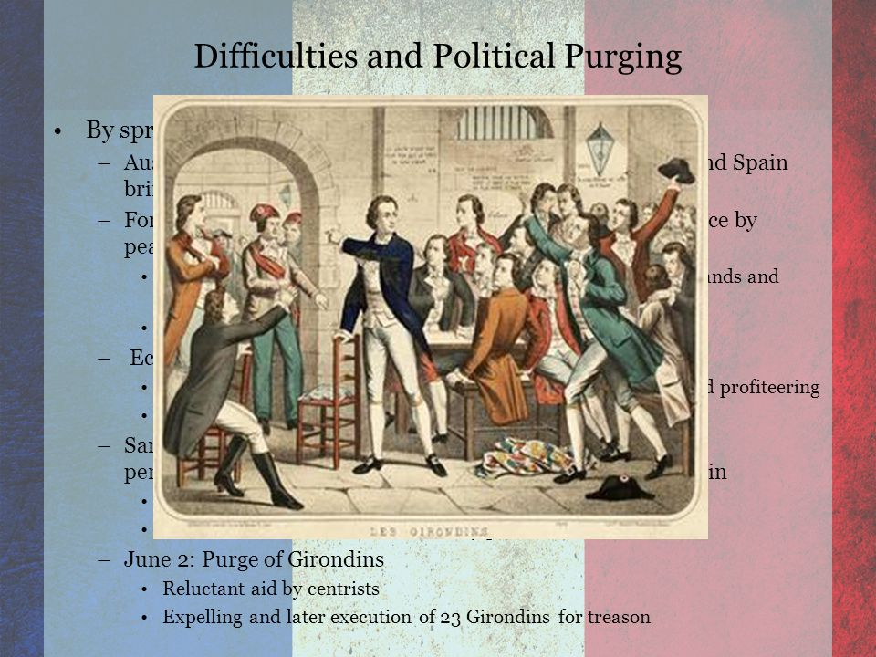 Difficulties and Political Purging By spring of 1793: –Austria and Prussia alliance along with Piedmont, Britain, and Spain bring danger of coming invasion –Forced militant drafts lead to inner civil war in western France by peasants.