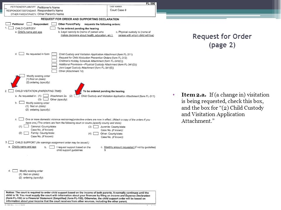 "Request for Order (page 2) Item 2.a. If (a change in) visitation is being requested, check this box, and the box for ""(2) Child Custody and Visitation"