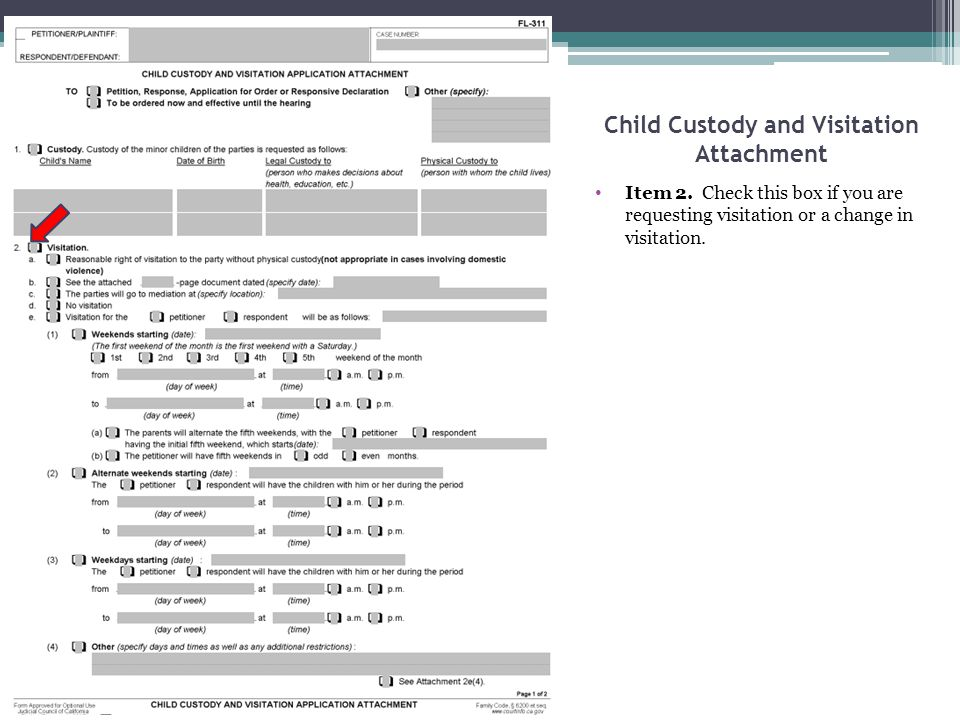 Child Custody and Visitation Attachment Item 2. Check this box if you are requesting visitation or a change in visitation.