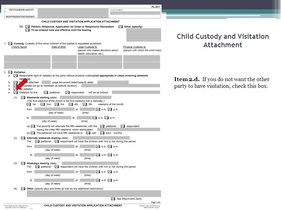 Child Custody and Visitation Attachment Item 2.d. If you do not want the other party to have visitation, check this box.