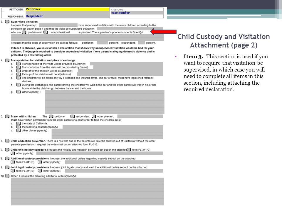Child Custody and Visitation Attachment (page 2) Item 3. This section is used if you want to require that visitation be supervised, in which case you
