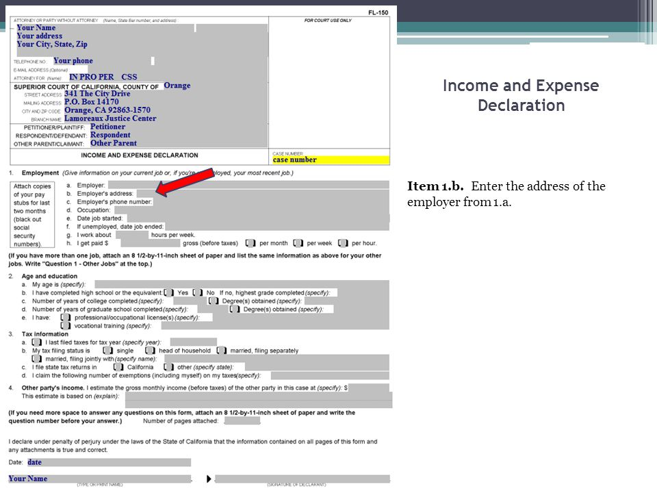 Income and Expense Declaration Item 1.b. Enter the address of the employer from 1.a.