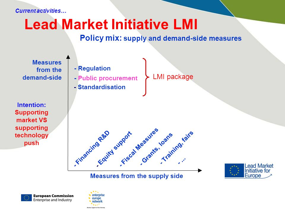Lead Market Initiative LMI Measures from the supply side Measures from the demand-side - Regulation - Public procurement - Financing R&D - Equity support - Fiscal Measures - Grants, loans - Standardisation LMI package Policy mix: supply and demand-side measures - Training, fairs -...