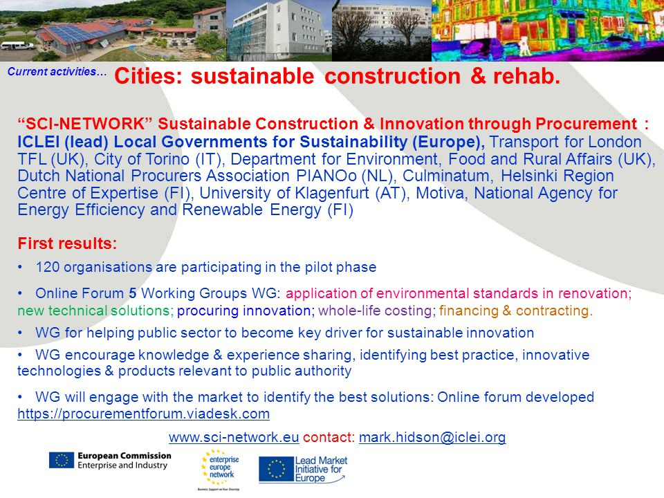 Cities: sustainable construction & rehab.