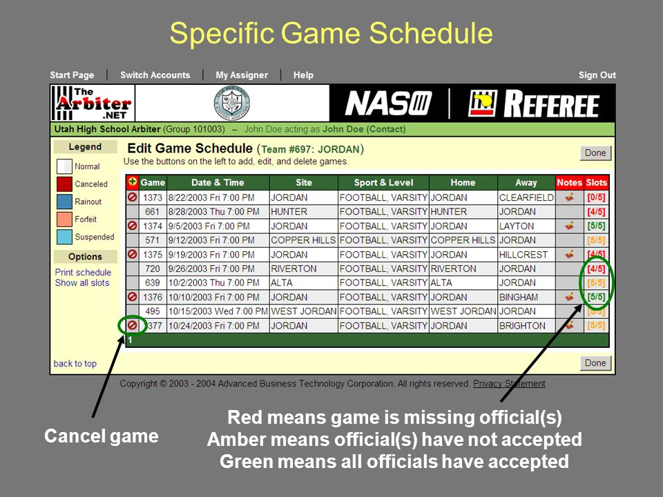Officiating Assignments Detail Clicking here opens and closes the officiating detail for a game