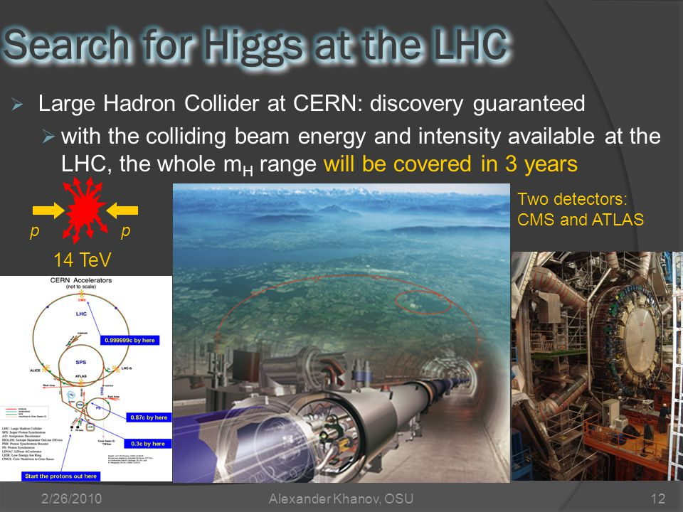 2/26/2010Alexander Khanov, OSU12  Large Hadron Collider at CERN: discovery guaranteed  with the colliding beam energy and intensity available at the LHC, the whole m H range will be covered in 3 years pp 14 TeV Two detectors: CMS and ATLAS