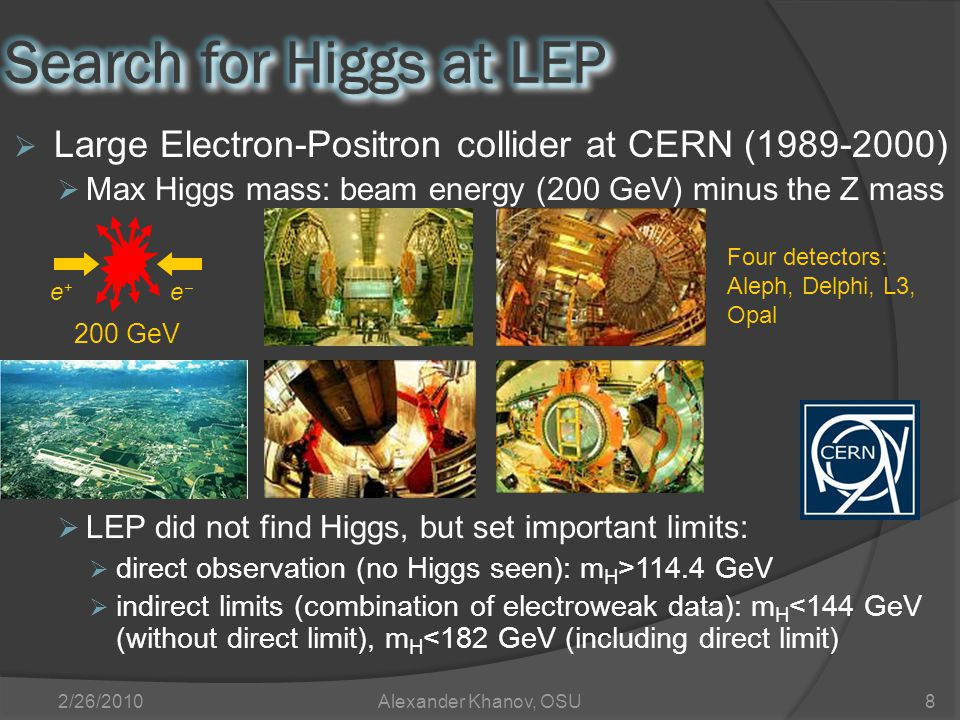 2/26/2010Alexander Khanov, OSU8  Large Electron-Positron collider at CERN (1989-2000)  Max Higgs mass: beam energy (200 GeV) minus the Z mass  LEP did not find Higgs, but set important limits:  direct observation (no Higgs seen): m H >114.4 GeV  indirect limits (combination of electroweak data): m H <144 GeV (without direct limit), m H <182 GeV (including direct limit) e+e+ ee 200 GeV Four detectors: Aleph, Delphi, L3, Opal