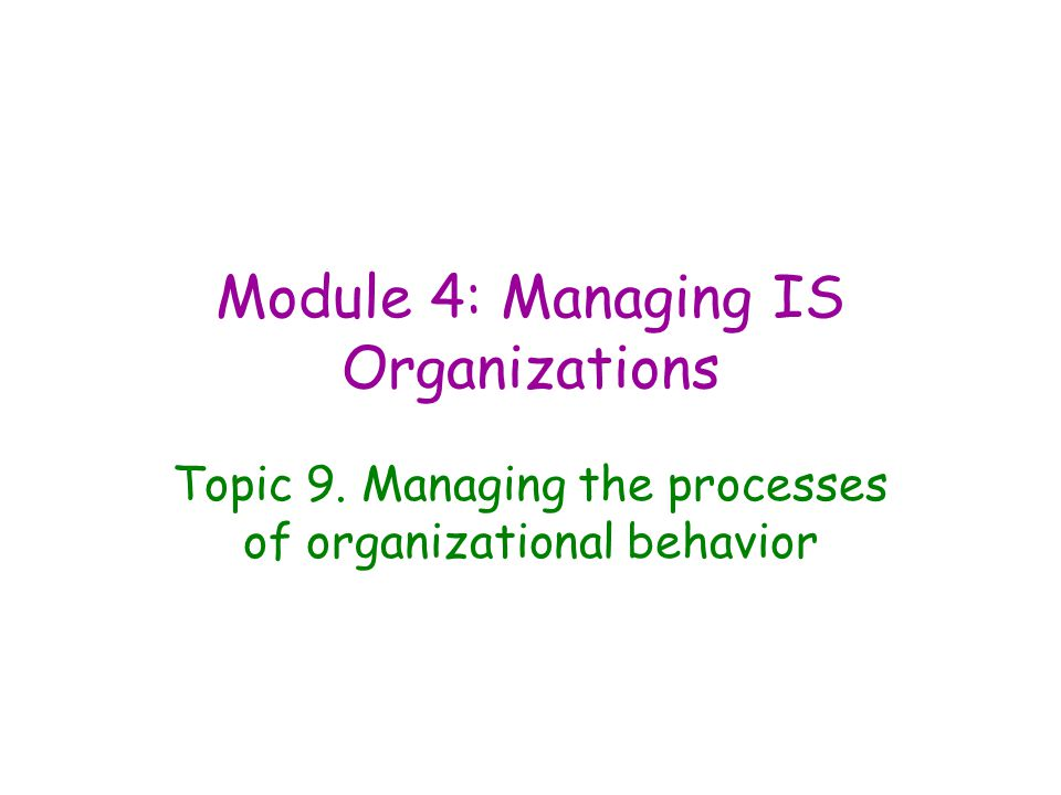 Module 4: Managing IS Organizations Topic 9. Managing the processes of organizational behavior