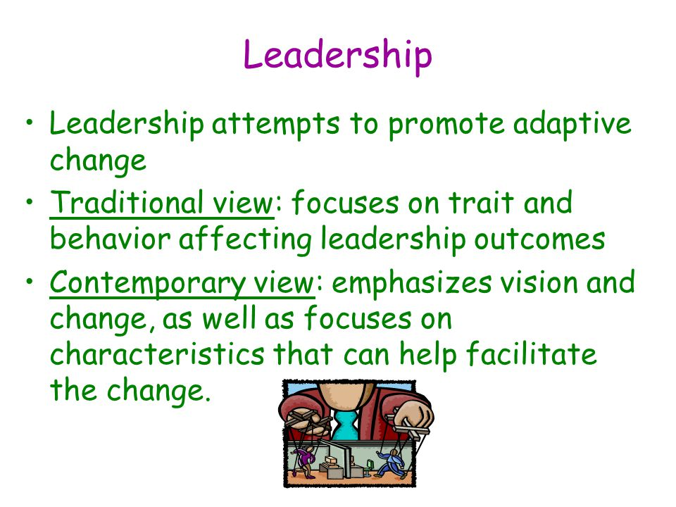 Leadership Leadership attempts to promote adaptive change Traditional view: focuses on trait and behavior affecting leadership outcomes Contemporary view: emphasizes vision and change, as well as focuses on characteristics that can help facilitate the change.