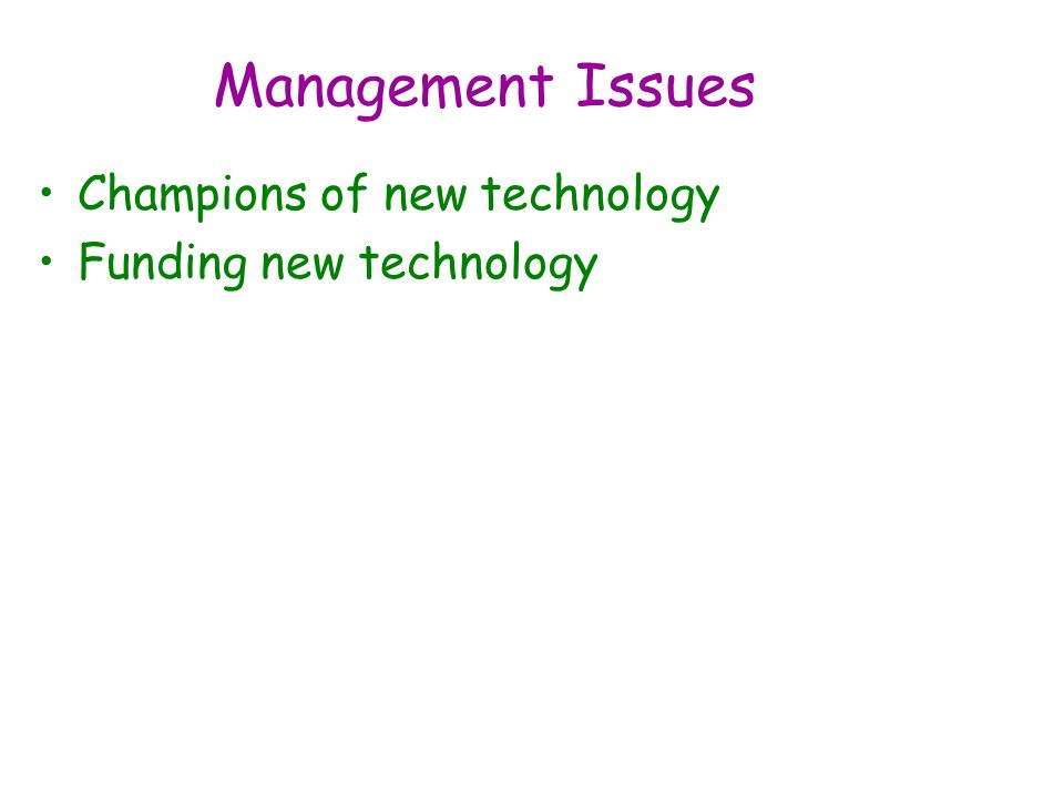 Management Issues Champions of new technology Funding new technology