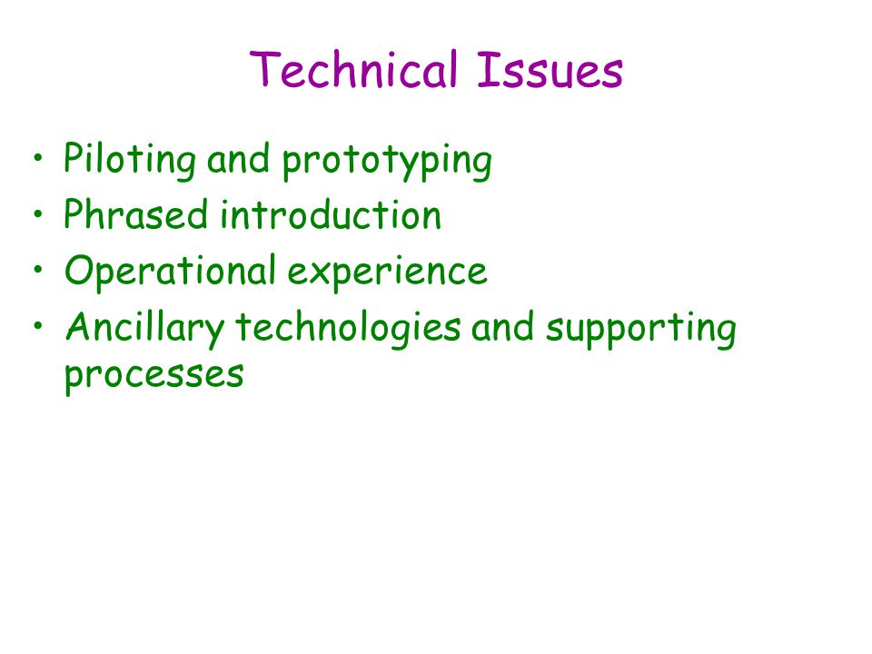 Technical Issues Piloting and prototyping Phrased introduction Operational experience Ancillary technologies and supporting processes