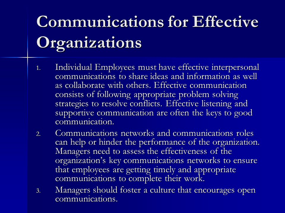 Communications for Effective Organizations 1.